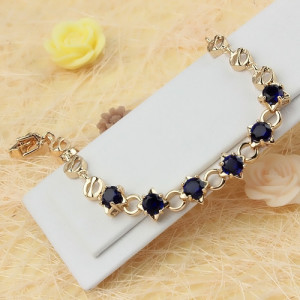 Элегантный браслет «Сириус» с синими фианитами и золотым покрытием фото. Купить