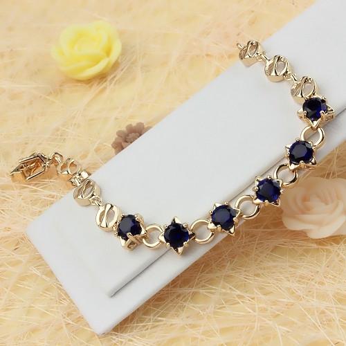 Элегантный браслет «Сириус» с синими фианитами и золотым покрытием купить. Цена 340 грн