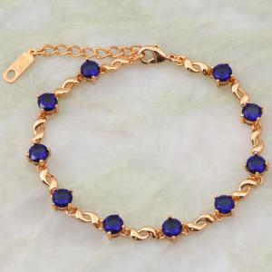 Обалденный браслет «Джайв» с круглыми синими фианитами и напылением из золота фото. Купить