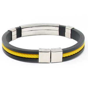 Молодёжный чёрный каучуковый браслет со вставкой в виде жёлтой верёвки фото. Купить