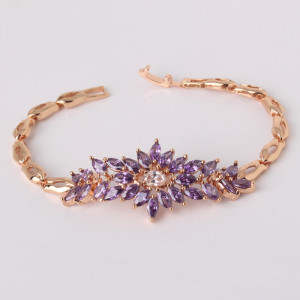 Неповторимый браслет «Феникс» с фиолетовыми цирконами и высококлассной позолотой купить. Цена 480 грн