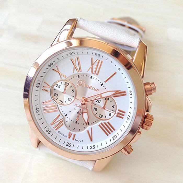Белые спортивные часы «Geneva» с римскими цифрами в золотистом корпусе купить. Цена 235 грн