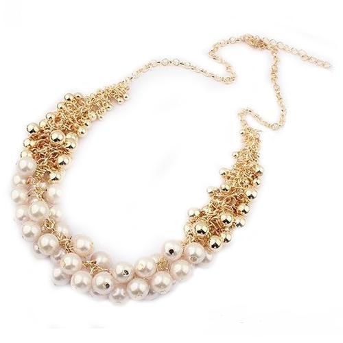 Восхитительное ожерелье «Грозди» и разновеликих бусин жемчужного и золотого цвета купить. Цена 185 грн