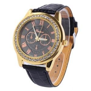 Красивые часы «Geneva» с римскими цифрами на черном циферблате с чёрным ремешком купить. Цена 175 грн