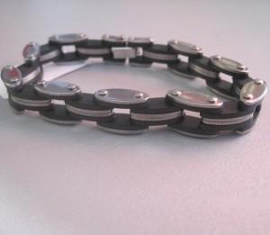 Хороший мужской браслет из нержавеющей стали с комбинированными звеньями фото. Купить