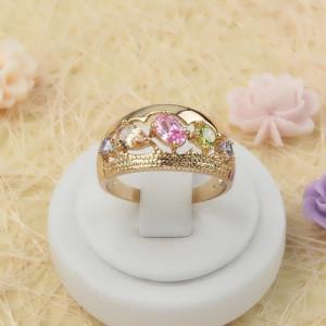 Великолепное кольцо «Радуга» с цветными цирконами и высококачественной позолотой фото. Купить