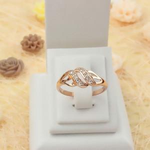 Ювелирное кольцо «Вояж» с мелкими цирконами в красиво переплетённой позолоченной оправе купить. Цена 160 грн или 500 руб.