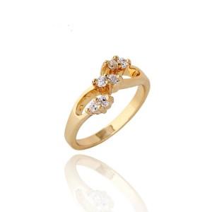 Загадочное кольцо интересной формы с мелкими цирконами и качественной позолотой купить. Цена 145 грн