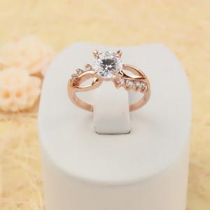 Восхитительное кольцо «Дарина» с высококачественной позолотой и прозрачными цирконами фото. Купить
