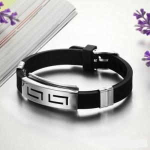 Чёрный браслет «Руны» из каучука со вставкой из нержавеющей стали фото. Купить