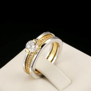 Двойное кольцо «Givenchy Style» с покрытием из жёлтого и белого золота и камнями Сваровски купить. Цена 210 грн