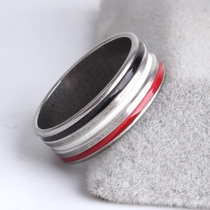 Трёхцветное кольцо «Gedeon» из медицинской стали с полосами из эмали купить. Цена 165 грн