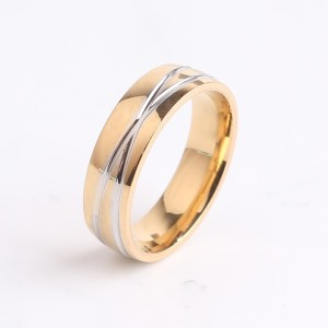 Отличное кольцо «Gedeon» из стали с двумя пересекающимися бороздами и покрытием под золото купить. Цена 165 грн