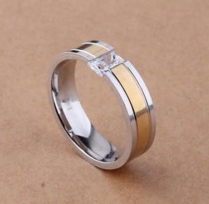 Незамкнутое кольцо «Gedeon» из хирургической стали, соединённое прямоугольным цирконом купить. Цена 210 грн