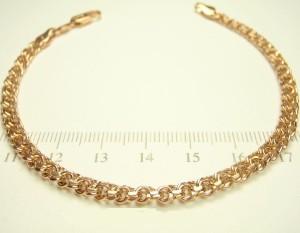 Интересный браслет-цепочка с плетением Бисмарк и покрытием из розового золота купить. Цена 320 грн или 1000 руб.