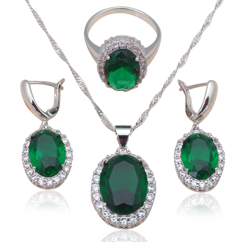Изумительный набор «Казанова» с крупным зелёным камнем и родиевым покрытием купить. Цена 650 грн