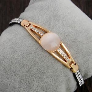 Комбинированный браслет «Милан» с искусственным опалом и стразами фото. Купить