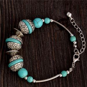 Тибетский браслет с бирюзой в металле под старинное серебро фото. Купить