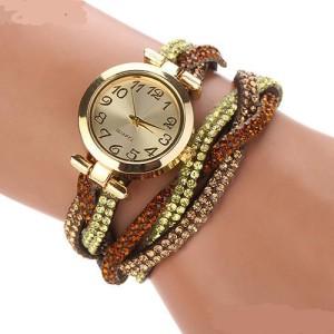 Яркие часы «Quartz» с золотым корпусом и длинным коричневым ремешком со стразами купить. Цена 235 грн