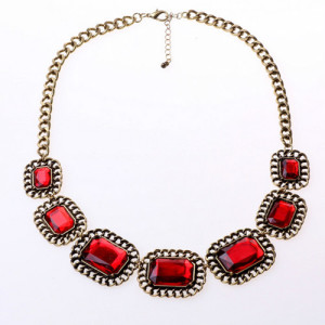 Красное ожерелье «Лантата» с большими камнями в металлической оправе под бронзу купить. Цена 185 грн
