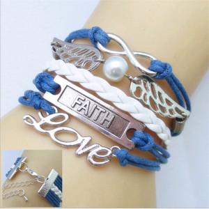 Синий браслет «Инфинити» с бесконечностью, металлическими крыльями и надписями фото. Купить