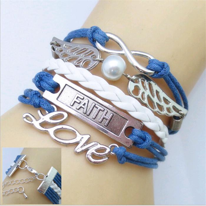 Синий браслет «Инфинити» с бесконечностью, металлическими крыльями и надписями купить. Цена 69 грн
