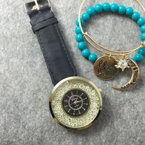 Супермодные часы «Geneva» с чёрным циферблатом в корпусе, заполненном стразами купить. Цена 250 грн