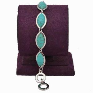 Миловидный браслет с овальными звеньями с пресованной бирюзой фото. Купить