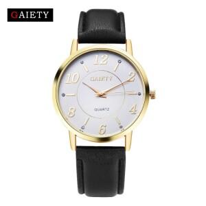 Хорошие часы «Gaiety» в классическом стиле на чёрном ремешке фото. Купить