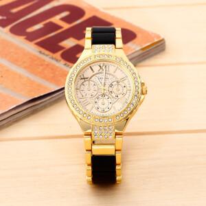 Замечательные часы «Geneva» золотого цвета с чёрными звеньями браслета фото. Купить