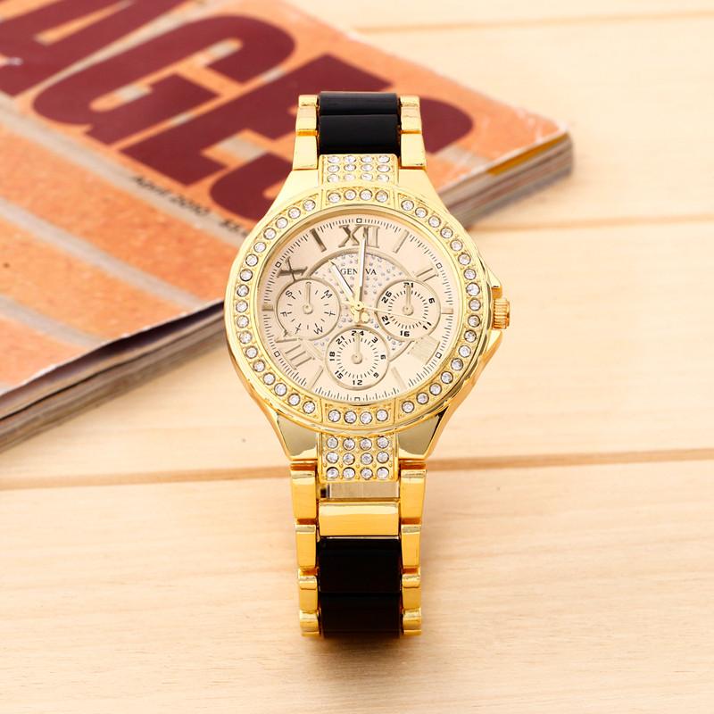 Замечательные часы «Geneva» золотого цвета с чёрными звеньями браслета купить. Цена 450 грн