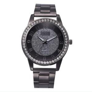 Крупные женские часы «Cuena» чёрного цвета со стразами на корпусе купить. Цена 299 грн