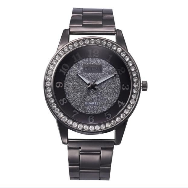 Крупные женские часы «Cuena» чёрного цвета со стразами на корпусе купить. Цена 375 грн