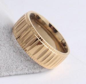 Крутое кольцо «Gedeon» из нержавеющей стали с покрытием под золото и ребристыми насечками купить. Цена 165 грн
