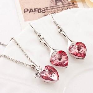 Романтичный набор «Влюблённость» с розовыми кристаллами в виде сердца в белом металле фото. Купить