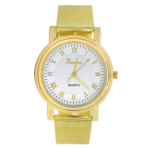 Классические часы «Geneva» с римскими цифрами и металлическим ремешком-кольчугой купить. Цена 240 грн