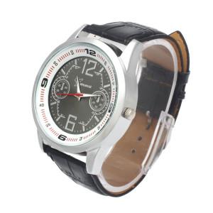 Необычные мужские часы «Geneva» с крупным корпусом, чёрным циферблатом и ремешком фото 1