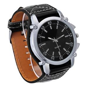 Крутые рокерские часы «Geneva» с большим корпусом и широким чёрным ремешком фото. Купить