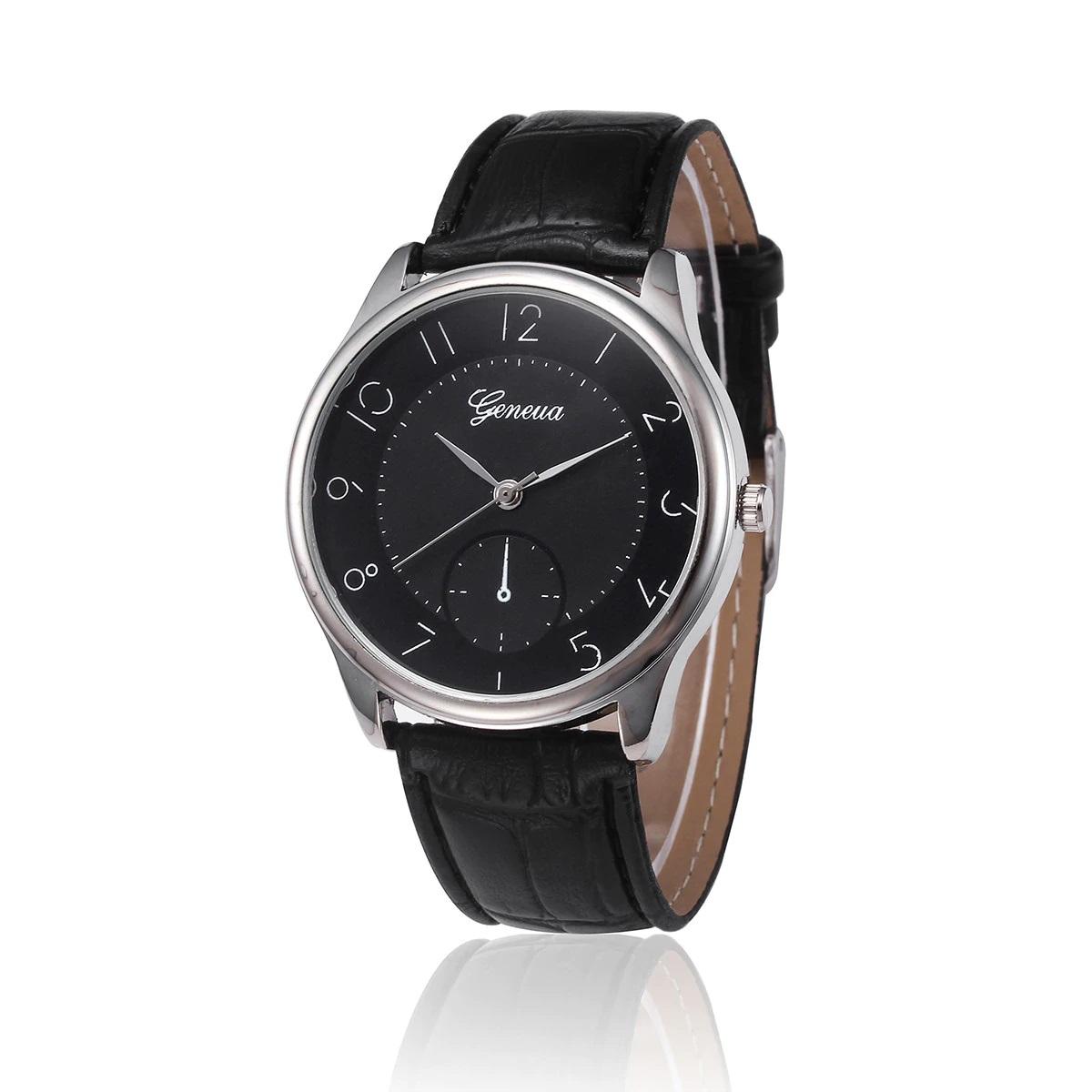 Лаконичные мужские часы «Geneva» с чёрным ремешком и циферблатом купить. Цена 255 грн