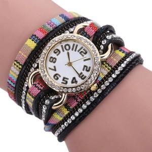 Причудливые часы «Quartz» с крупными цифрами и очень длинным комбинированным ремешком купить. Цена 199 грн