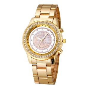Элегантные женские часы «Geneva» с циферблатом без цифр, со стразами и золотистым браслетом фото. Купить