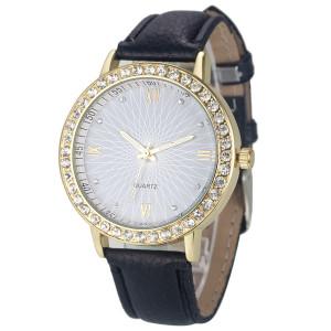 Новейшие часы «Quartz» с абстрактным рисунком на циферблате и чёрным ремешком фото. Купить
