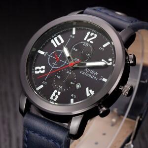 Чёрные мужские часы «XINEW» в городском стиле на синем ремешке купить. Цена 365 грн