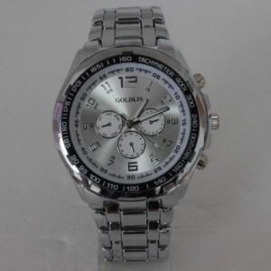Большие наручные часы «Goldlis» с серебристым циферблатом и мощным браслетом фото. Купить