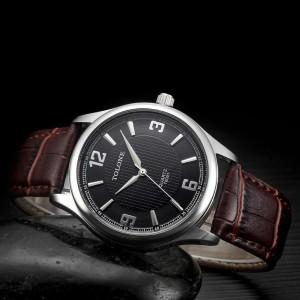 Деловые часы «Tolone» классического дизайна с мягким коричневым ремешком фото. Купить