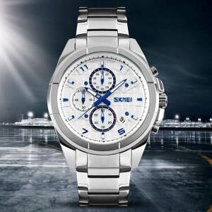 Большие наручные часы «SKMEI» с белым циферблатом и металлическим браслетом купить. Цена 1250 грн