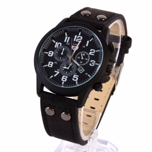 Матовые чёрные часы «XINEW» в стиле милитари с окошком даты и чёрным ремешком купить. Цена 340 грн