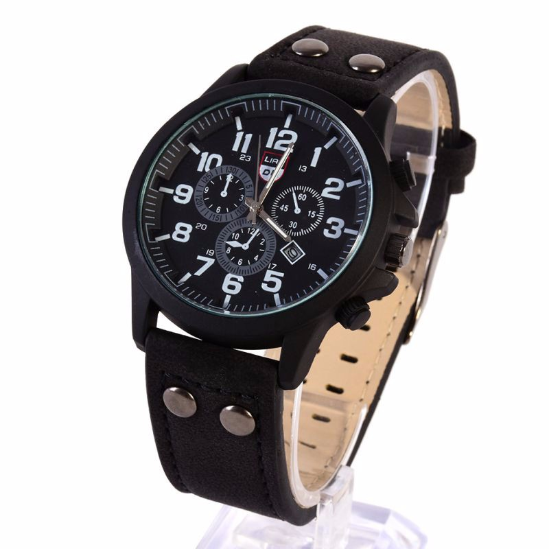 Матовые чёрные часы «XINEW» в стиле милитари с окошком даты и чёрным ремешком купить. Цена 399 грн