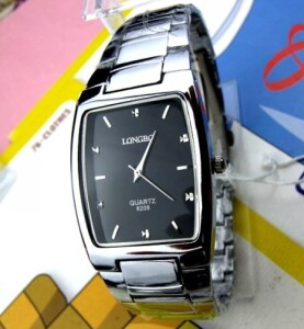 Прямоугольные часы «Longbo» с чёрным циферблатом и металлическим браслетом купить. Цена 599 грн