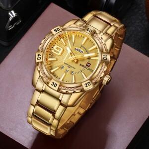 Массивные часы «Naviforce» золотого цвета с мощным браслетом купить. Цена 1199 грн
